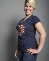 t. shirt M/M stampa cuore U.S.A. BLU