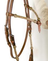 Briglia western in cuoio con fiocco